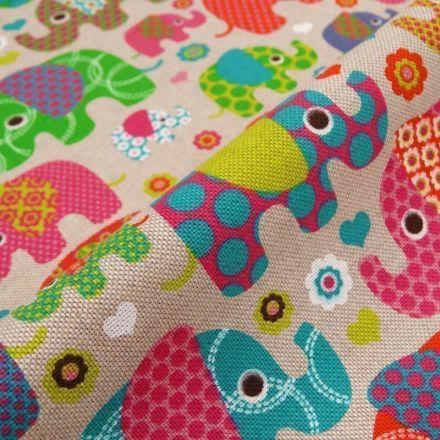 Tissu Toile Coton Beige Éléphants rouges et roses x10cm