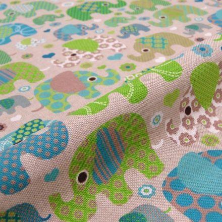 Tissu Toile Coton Beige Eléphants verts et bleus x10cm