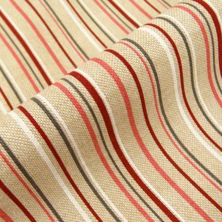 Tissu Toile Coton Beige Rayures blaches rouges et grises x10cm