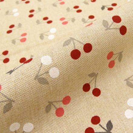 Tissu Toile Coton Beige Cerises x10cm