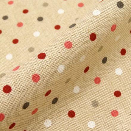 Tissu Toile Coton Beige Pois confettis x10cm