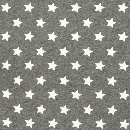 Tissu Sweat Gris Etoiles blanches x10cm