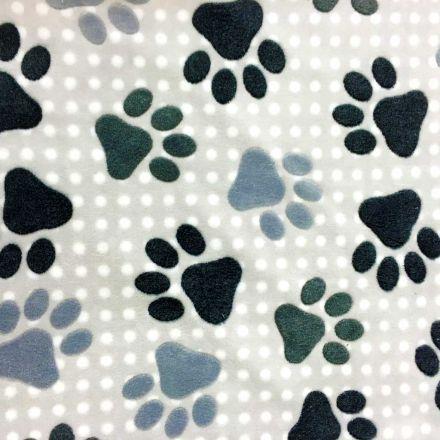 Tissu Doudou Taupe clair Pattes d'ours grises - Par 10 cm