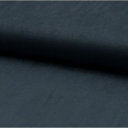 Tissu Suédine jersey Bleu jean - Par 10 cm
