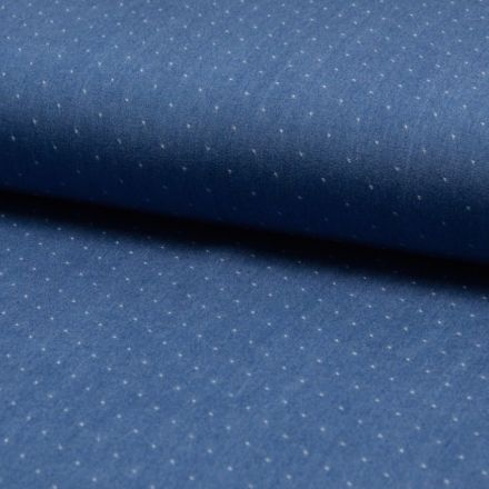 Tissu Chambray Tencel Bleu jean clair Pois Blancs - Par 10 cm