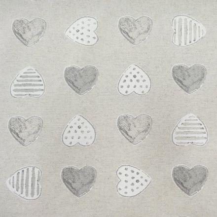Tissu Enduit Anti Tâches Coeurs Chamade Gris - Par 10 cm