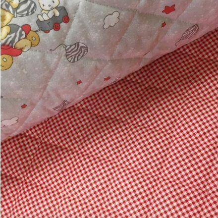 Tissu Matelassé Gris Lapins Beiges et gris - Par 10 cm