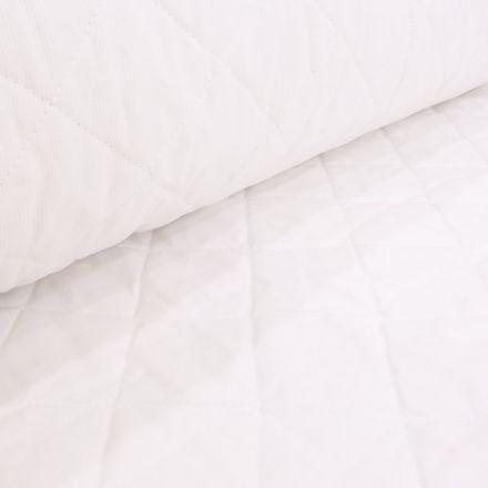 Tissu Piqué de coton Baby Matelassé réversible Neige - Par 10 cm
