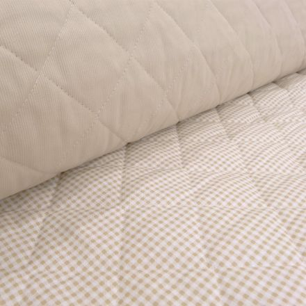 Tissu Piqué de coton Baby Matelassé réversible Taupe - Par 10 cm