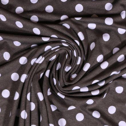 Tissu Jersey Viscose Taupe Pois 13mm Blanc - Par 10 cm