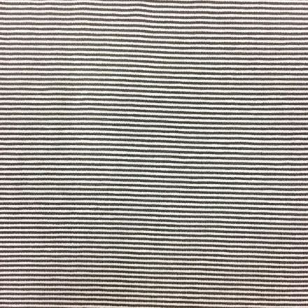 Tissu Jersey Viscose Marinière Rayures fines Taupe et blanc - Par 10 cm