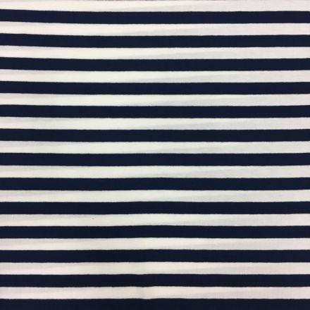 Tissu Jersey Viscose Marinière Rayures 1 cm Bleu marine et blanc - Par 10 cm
