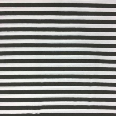 Tissu Jersey Viscose Marinière Rayures 1 cm Taupe et blanc - Par 10 cm