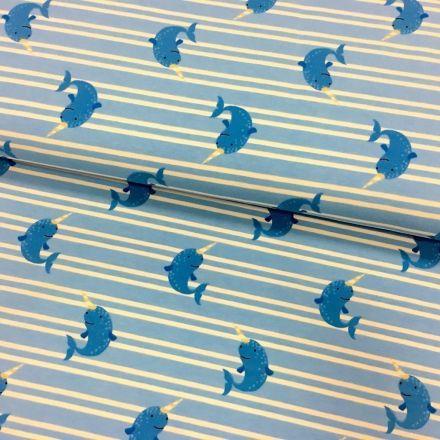 Tissu Jersey coton Bleu Marinère et baleines Blanches - Par 10 cm