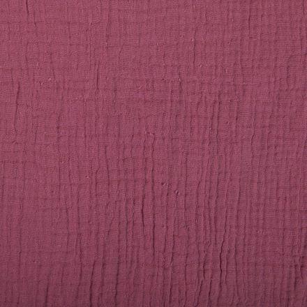 Tissu Double gaze de coton uni Bourgogne foncé - Par 10 cm