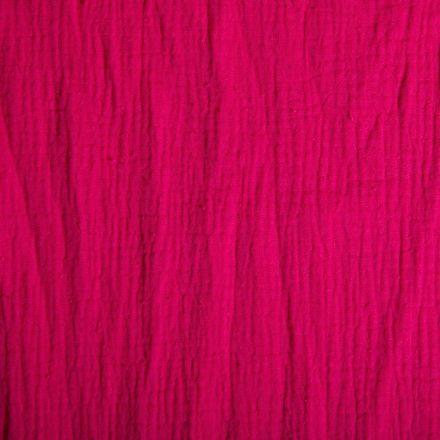 Tissu Double gaze de coton uni Fuchsia - Par 10 cm