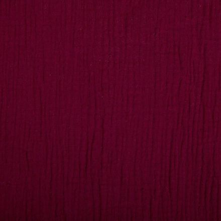 Tissu Double gaze de coton uni Bordeaux - Par 10 cm