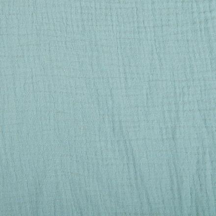 Tissu Double gaze de coton uni Vert d'eau - Par 10 cm