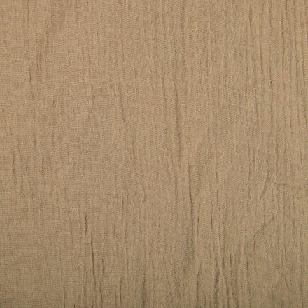 Tissu Double gaze de coton uni Beige foncé - Par 10 cm