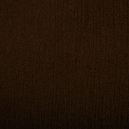 Tissu Double gaze de coton uni Marron chocolat - Par 10 cm