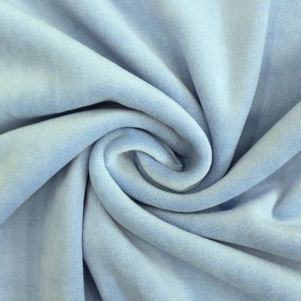 Tissu Jersey Velours tout doux Bleu bébé x10cm