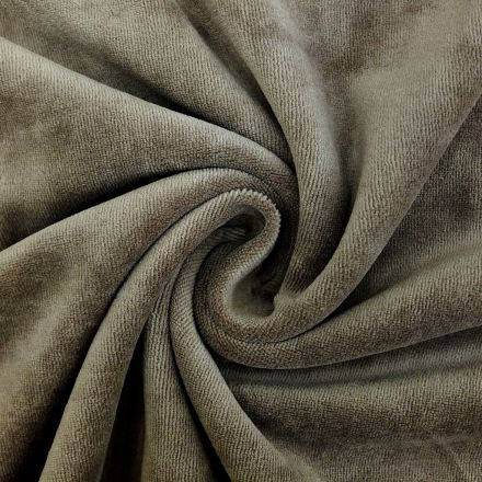 Tissu Jersey Velours tout doux Taupe x10cm