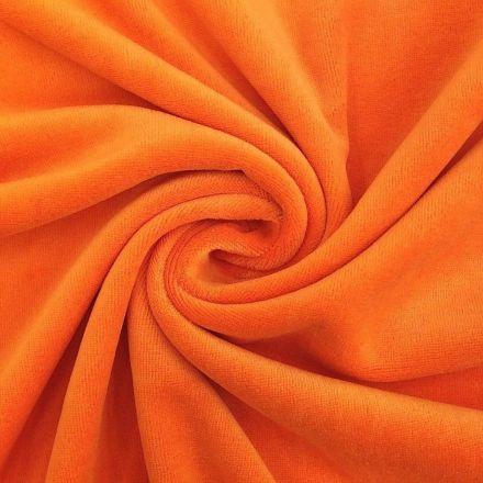 Tissu Jersey Velours tout doux Orange x10cm