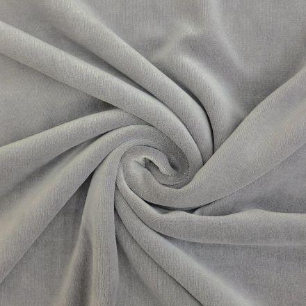 Tissu Jersey Velours tout doux Gris très clair x10cm