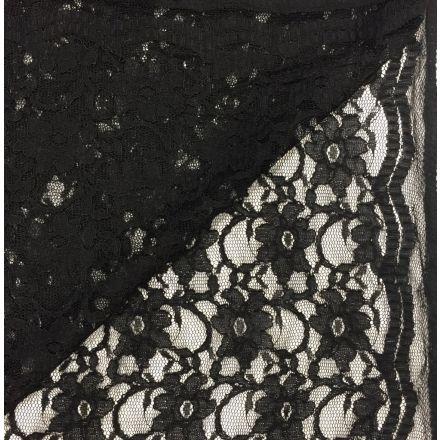 Tissu Dentelle Eva Noir - Par 10 cm