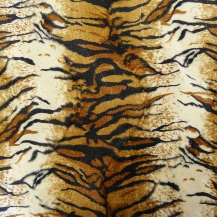Tissu Velours Peau de bête Tigré Beige x10cm