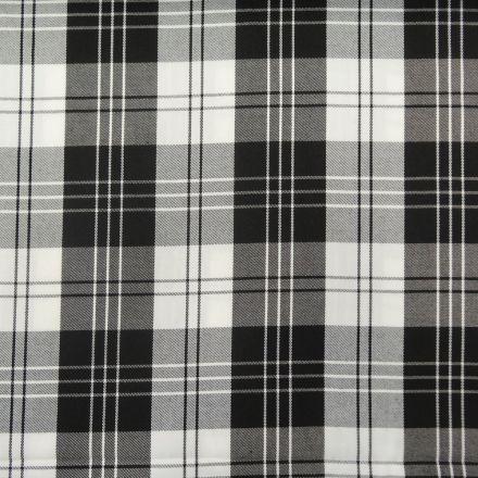 Tissu Tartan Ecossais Blanc Gros Carreaux Noirs - Par 10 cm