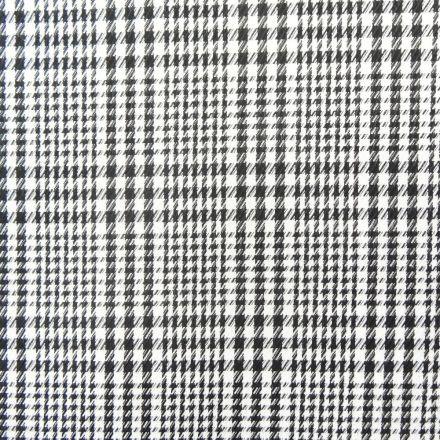 Tissu Tartan Ecossais Pied de Poule Noir et Blanc - Par 10 cm