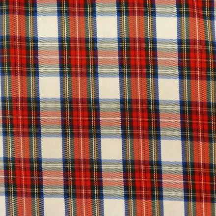 Tissu Tartan Ecossais Rouge Carreaux Blancs - Par 10 cm