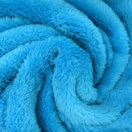 Tissu Doudou uni Bleu turquoise x10cm