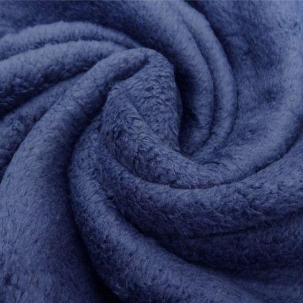 Tissu Doudou uni Bleu marine x10cm