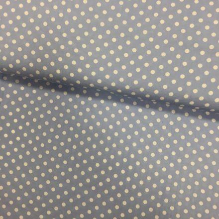 Tissu Coton imprimé Bleu clair Pois 8 mm Blancs - Par 10 cm