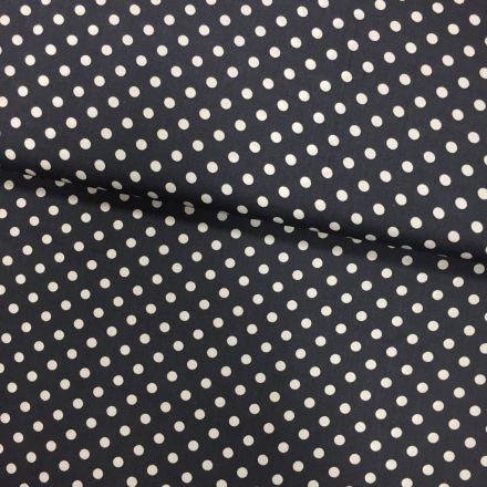 Tissu Coton imprimé Gris foncé Pois 8 mm Blancs - Par 10 cm