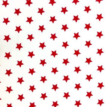 Tissu Coton imprimé Blanc Etoiles Rouges - Par 10 cm