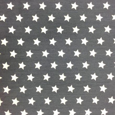 Tissu Coton imprimé Gris anthracite Etoiles Blanches - Par 10 cm