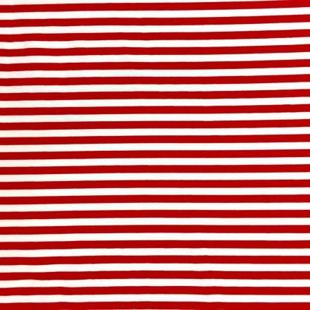 Tissu Coton imprimé marinière Rouge et blanc - Par 10 cm