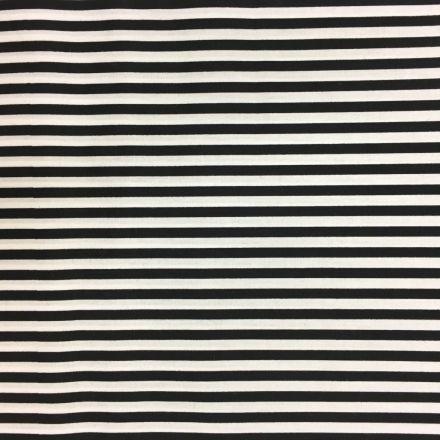 Tissu Coton imprimé marinière Noir et blanc - Par 10 cm