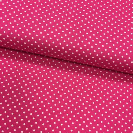 Tissu Coton imprimé Rose fuchsia Pois 3 mm Blancs - Par 10 cm