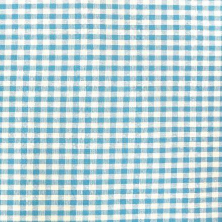Tissu Vichy Petits carreaux 5 mm Bleu turquoise - Par 10 cm
