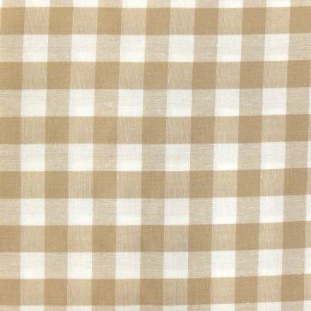 Tissu Vichy Très grands carreaux 17 mm Beige - Par 10 cm