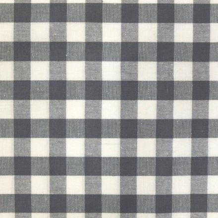Tissu Vichy Très grands carreaux 17 mm Gris - Par 10 cm