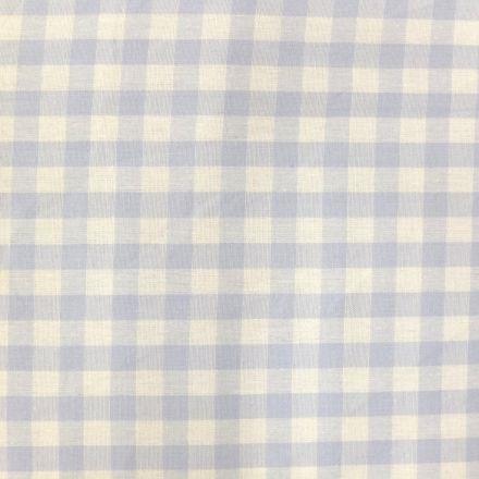 Tissu Vichy Grands carreaux 10 mm Bleu ciel - Par 10 cm