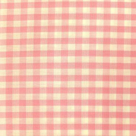 Tissu Vichy Grands carreaux 10 mm Rose pastel - Par 10 cm