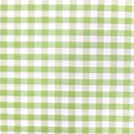 Tissu Vichy Grands carreaux 10 mm Vert pomme - Par 10 cm