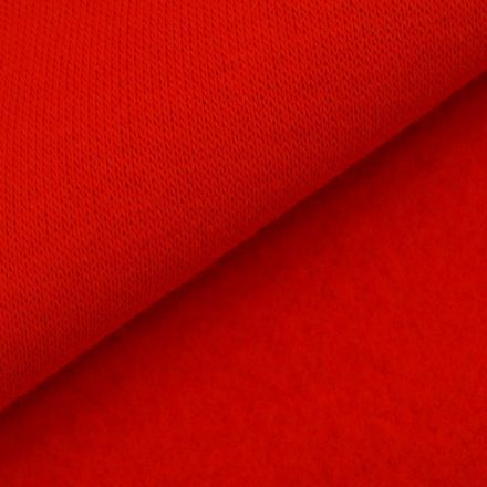Tissu Molleton Sweat uni Rouge x10cm