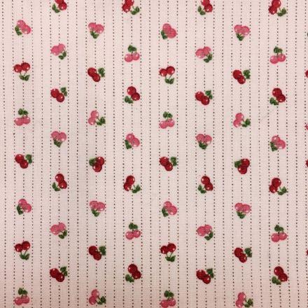 Tissu Coton imprimé Rose Cerises Roses - Par 10 cm